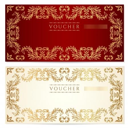 cheque en blanco: Plantilla de certificado de regalo Vales con el patrón Vectores