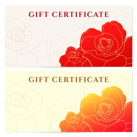 Gift certificate  voucher  template with flower pattern Vector