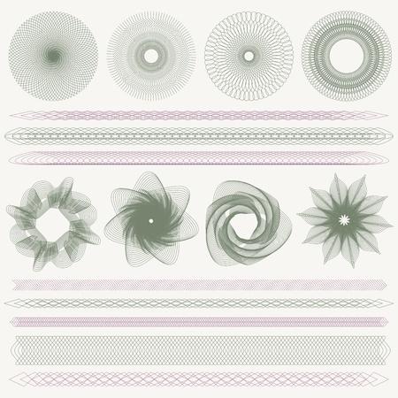 Ustaw kolekcję kolorowych znaków wodnych i granic Ilustracje wektorowe