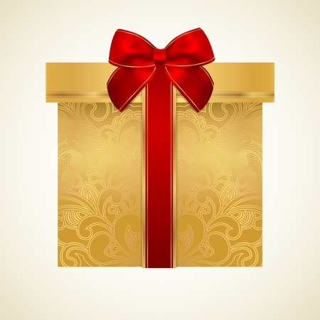 Golden gift box with floral pattern and red bow Stock Vector - 19500633