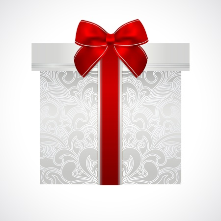 Silver gift box with floral pattern and red bow Stock Vector - 19500631