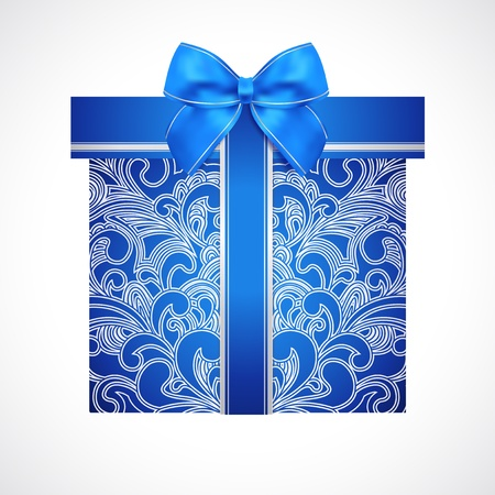 Blue gift box with floral pattern  scroll  and bow  ribbon Stock Vector - 19500627