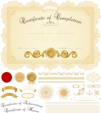 Horizontal yellow certificate of completion  template  with guilloche pattern Vector