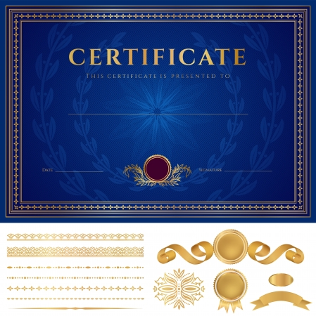 diplomas: Horizontal blue Certificate of completion  template  with guilloche pattern  watermarks , golden borders, medal  insignia , design elements  Background usable for diploma, invitation, gift voucher  Vector Illustration
