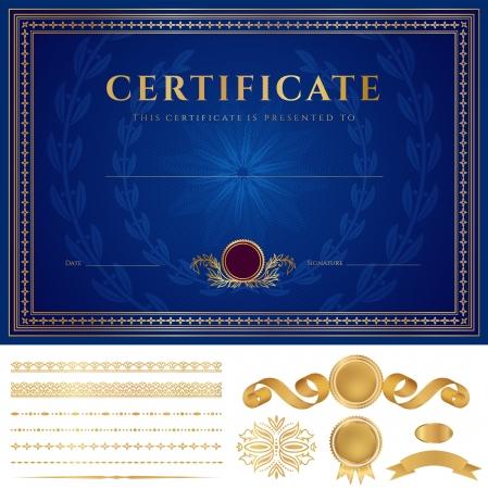 certificat diplome: Horizontal certificat bleu de mod�le d'ach�vement avec filigranes guilloch� de motifs, des bordures dor�es, m�daille d'insignes, des �l�ments de conception de base utilisables pour le dipl�me, d'invitation, ch�que cadeau Vecteur