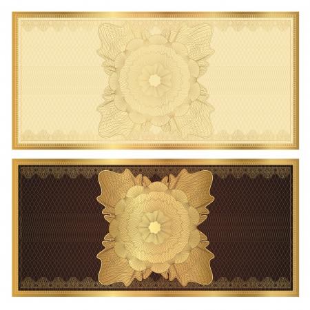 guilloche pattern: Plantilla Voucher Certificado de regalo con marcas de agua de l�neas entrecruzadas y frontera utilizables antecedentes para cupones, billetes de banco, el dise�o de dinero, moneda, billete, compruebe etc Vector en colores dorados y marrones