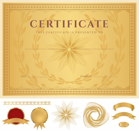 ornate border: Horizontal golden Certificate of completion  template  with guilloche pattern  watermarks , golden borders, medal  insignia , design elements  Background usable for diploma, invitation, gift voucher  Vector