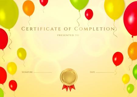 completion: Horizontal certificado de oro de la plantilla de la finalizaci�n con globos de colores brillantes de fondo para los ni�os utilizable Fondo para el diploma, invitaci�n, vale de regalo o diferentes premios Vector