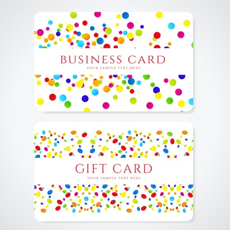 rainbow sphere: Colorful Business or Gift card template with abstract pattern  Bright background design usable for gift coupon, voucher, invitation, ticket  Illustration