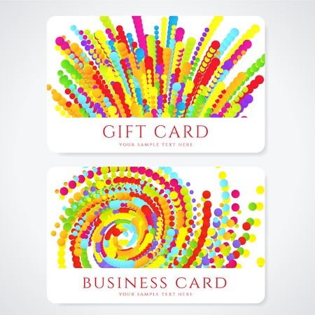 Colorful Business or Gift card template with abstract pattern  Bright background design usable for gift coupon, voucher, invitation, ticket Stock Vector - 19637560
