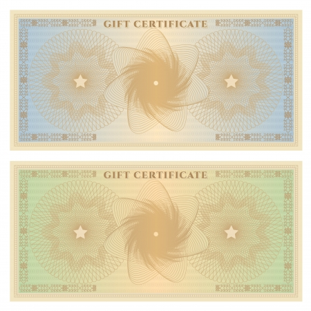 formal blue: Gift certificate  Voucher  template with guilloche pattern  watermarks  and border  Background for coupon, banknote, money design, currency, note, check in vintage colors  green,blue