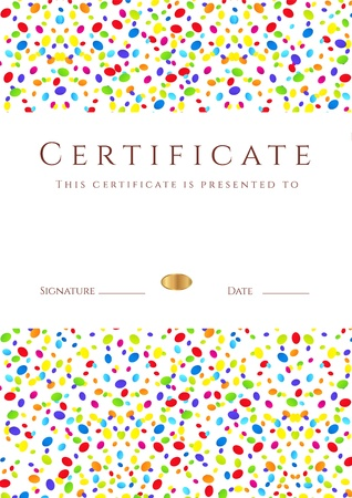 diplomas: Vertical colorful Certificate of completion  template for holidays or children  with bright abstract background  Usable for diploma, invitation, gift voucher, coupon or awards