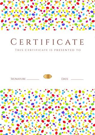 graduacion niños: Vertical colorido Certificado de plantilla terminación para las vacaciones o los niños con brillantes útil resumen de antecedentes para el diploma, invitación, tarjeta de regalo, cupones o premios