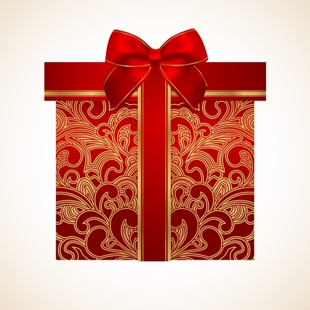 Red gift box with golden floral pattern and bow  ribbon   celebration symbol  present  for  St  Valentin day, Mother s day, Christmas and other holidays   Background design for greeting card Vector