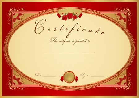 fondo de graduacion: Certificado roja horizontal de finalizaci�n (plantilla) con dise�o de flores (rosas), frontera de oro, medalla (insignia). Dise�o de fondo para el diploma, invitaci�n, bono regalo, oficial, ticket o premios.