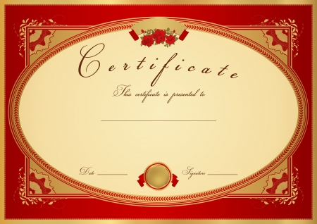Horizontal red Certificate of completion (template) with flower pattern (rose), golden border, medal (insignia). Background design for diploma, invitation, gift voucher, official, ticket or awards.  Vector