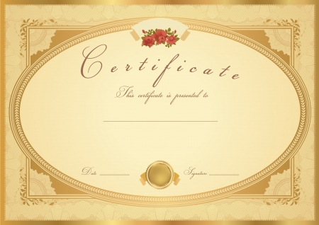 certificate: Horizontal gold Certificate of completion (template) with flower pattern (rose), golden border, medal (insignia). Background design for diploma, invitation, gift voucher, official, ticket or awards.