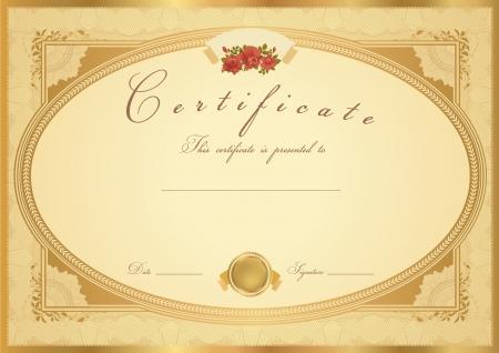 Certificado oro Horizontal de finalización (plantilla) con diseño de flores (rosas), frontera de oro, medalla (insignia). Diseño de fondo para el diploma, invitación, bono regalo, oficial, ticket o premios.