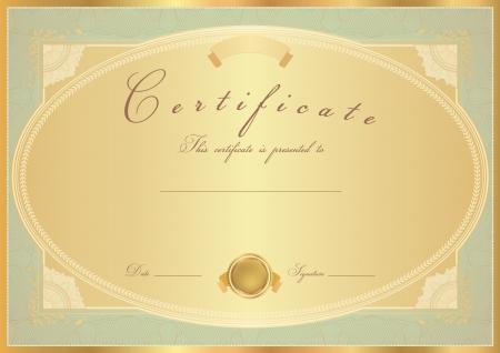 completion: Certificado oro Horizontal de finalizaci�n (plantilla) con dise�o de flores (rosas), frontera de oro, medalla (insignia). Dise�o de fondo para el diploma, invitaci�n, bono regalo, oficial, ticket o premios.