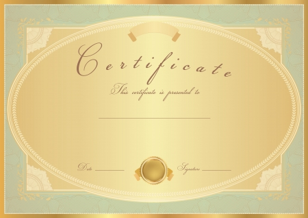 completion: Horizontal gold Certificate of completion (template) with flower pattern (rose), golden border, medal (insignia). Background design for diploma, invitation, gift voucher, official, ticket or awards.