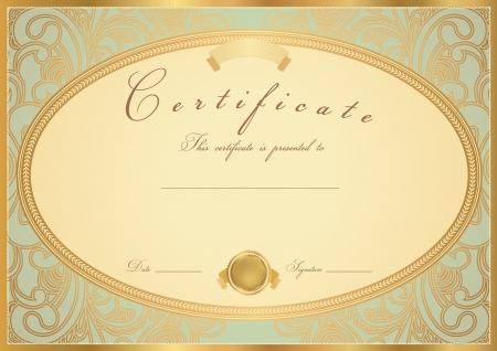 アクアマリン: 完了のデザインのテンプレートのサンプルのバック グラウンド花パターン スクロール、ゴールデン ビンテージ境界線で有用なギフト券、教育の達成の証明、賞、招待状、クーポンのための証明書卒業証書修了証書
