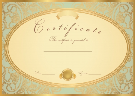 certificate design: Certificate of completion Certificate   Diploma of completion  design template   sample background  with flower pattern  scroll , golden vintage border  Useful for  Gift voucher, Certificate of Achievement   education, awards, invitation, coupon  Illustration