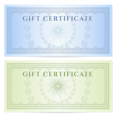 guilloche: Gift certificate  Voucher  template with guilloche pattern  watermarks  and border  Background design for coupon, banknote, money design, currency, note, ticket, check etc  Vector in colors  green,blue  Illustration