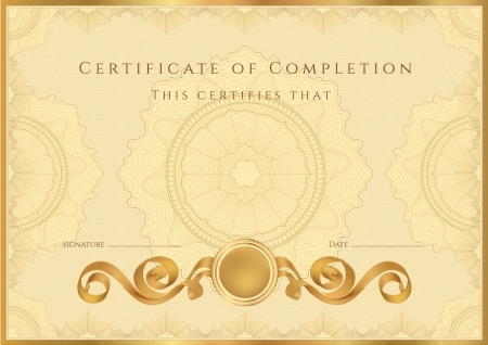 Gold Certificate   Diploma of completion  design template   sample background  with guilloche pattern  watermarks , border  Useful for  Certificate of Achievement, Certificate of education, awards