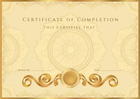 graduados: Oro Certificado Diploma de finalizaci�n plantilla de dise�o de fondo muestra con marcas de agua labrado de borde �til para Certificado de Aprovechamiento, Certificado de la educaci�n, los premios