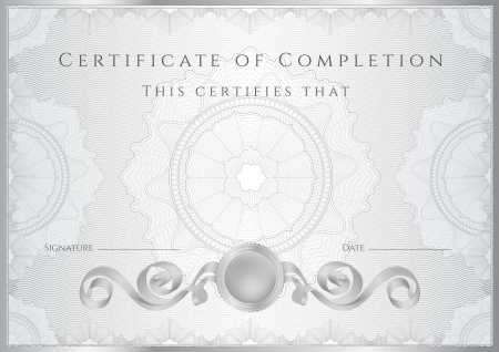 Silver Certificate   Diploma of completion  design template   sample background  with guilloche pattern  watermarks , border  Useful for  Certificate of Achievement, Certificate of education, awards Vector