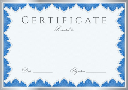formal blue: Blue Certificate   Diploma of completion  design template   sample background  with guilloche pattern  watermarks , border  Useful for  Certificate of Achievement, Certificate of education, awards
