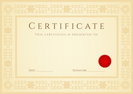 Certificate   Diploma of completion  design template   sample background  with guilloche pattern  watermark , border, wax seal  Useful for  Certificate of Achievement, Certificate of education, awards Vector