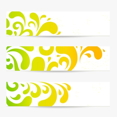 green coupon: set  Banners  Colorful abstract backgrounds with floral pattern  swirl, scroll, drop shape   Contemporary design useful for website  web header layout , flyer, information ads, ticket, coupon