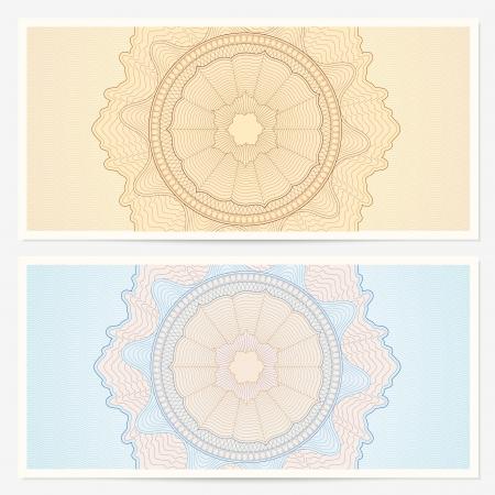 Buono regalo, modello Voucher con ghigliottina filigrane modello e sfondo confine della cedola, banconote, disegno soldi, valuta, nota, controllare ecc in colori vintage Vettoriali