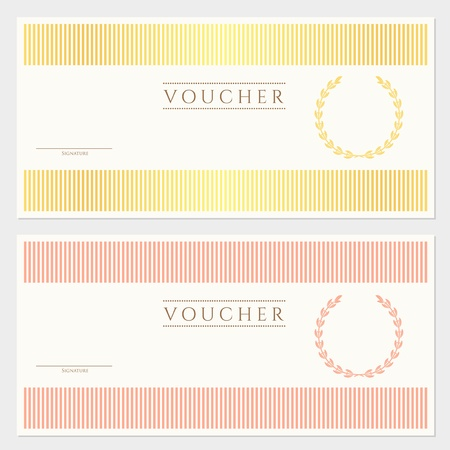 gift certificate: Voucher, Gift certificate template with colorful stripy pattern and border  Background usable for coupon, banknote, money design, currency, note, ticket, check etc in vintage color