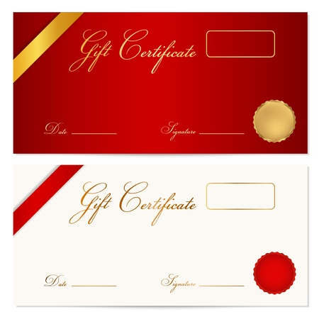 Voucher, Gift certificate, Coupon template with ribbon, seal wax  Background design for invitation, banknote, diploma, money design, currency, check, ticket in gold, red  maroon  colors Vector