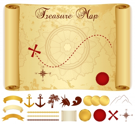 Schatkaart op oude vintage antieke document rol of perkament met kruis, rode markering, kompas, anker, bannerlint, palmboom
