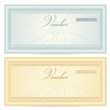 Gift certificate   Voucher template with guilloche pattern  watermarks  and border