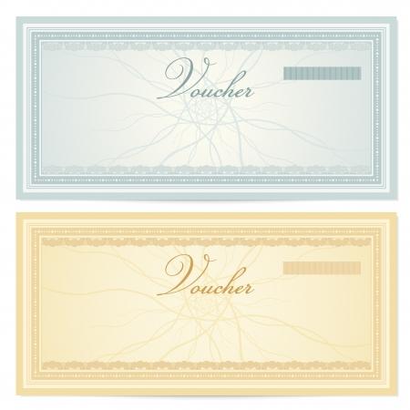 guilloche pattern: Plantilla Voucher Certificado de regalo con marcas de agua de l�neas entrecruzadas y frontera