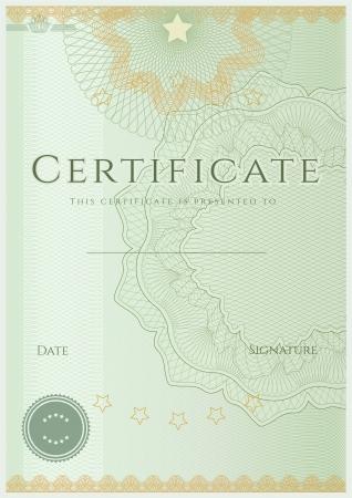 グリーン証明書免状完成デザイン テンプレート サンプル ギョーシェ パターン透かしと背景の境界線します。