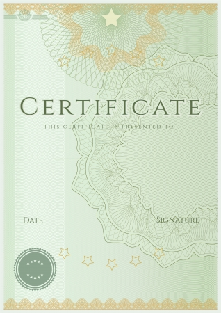 Green Certificate   Diploma of completion  design template   sample background  with guilloche pattern  watermarks , border Vector