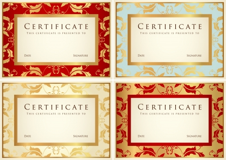 completion: Certificado de finalizaci�n de plantilla o de fondo de la muestra con desplazamiento del patr�n de flor, vintage de oro, marco de dise�o de diploma, invitaci�n, tarjeta de regalo, entradas, ganador de premios Vectores