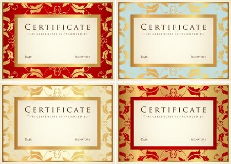 certificat diplome: Certificat de mod�le d'ach�vement ou de fond de l'�chantillon avec une fleur de d�filement motif, cru or, conception de cadre pour le dipl�me, invitation, ch�que cadeau, billet, gagnant des prix
