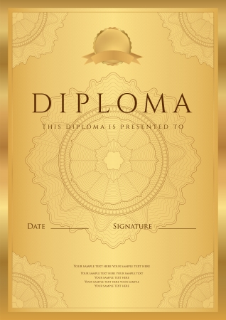 Gold Diploma of completion  template or sample background  with guilloche pattern  watermark , borders