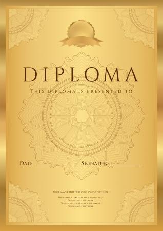 Gold-Diplom der Fertigstellung Vorlage oder Muster Hintergrund mit Guillochenmuster Wasserzeichen, Grenzen