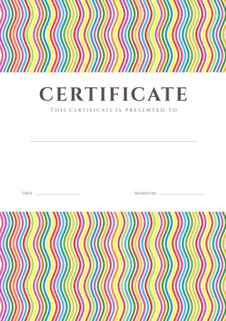stripy: Certificate of completion  template or sample background  with colorful  bright, rainbow  wave lines pattern and place for text
