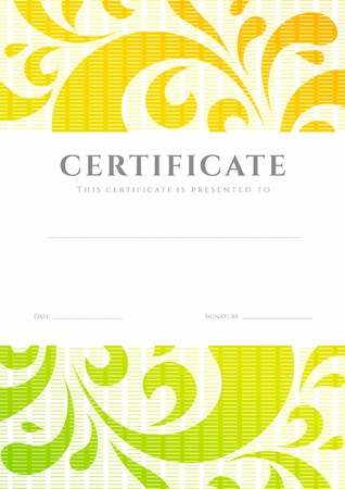 Certificate of completion  template or sample background  with colorful  bright, rainbow  floral pattern  swirl, scroll shape Illustration