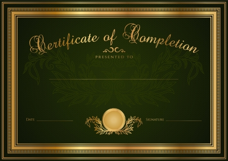 diploma border: Green Certificate of completion  template or sample blank background  with guilloche pattern