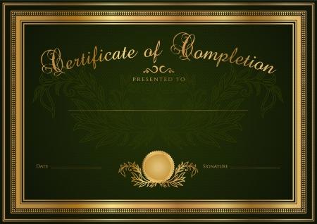 Groene Certificaat van voltooiing sjabloon of sample blanco achtergrond met guillochepatroon