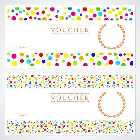 Voucher (Cadeaubon) sjabloon met kleurrijke (helder, regenboog) abstracte achtergrond ontwerp.